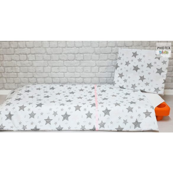 Csíkos Csillagok rózsa, ovis, ágynemű huzat 90x140 cm (121/R)