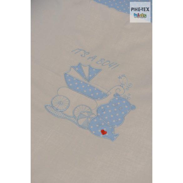 Babakék színű pöttyös hímzett vizilovas 3 részes babaágynemű garnitúra