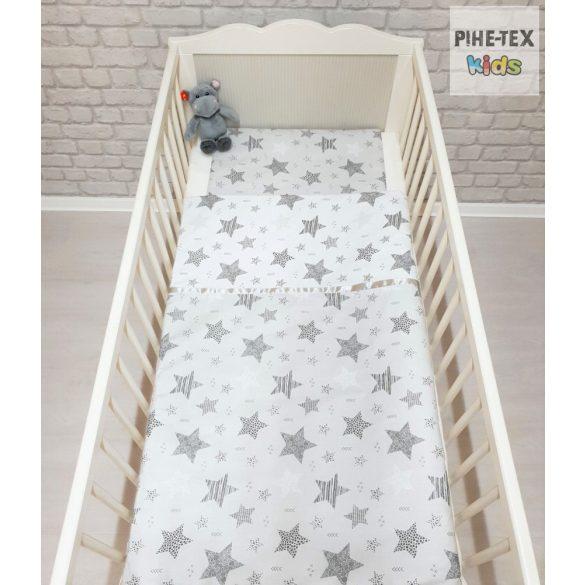 Csíkos Csillagok, fehér-szürke,  babaágynemű huzat  (121/F-Sz)