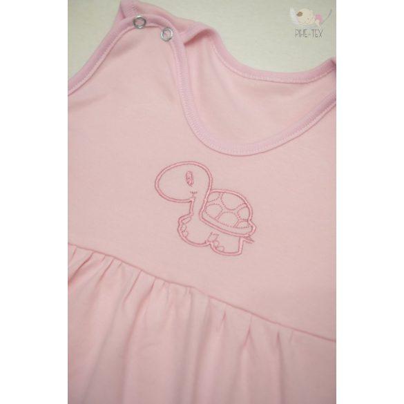 Rózsaszín, ujjatlan, patentos hálózsák, hímzett teknős mintával 86-os méret