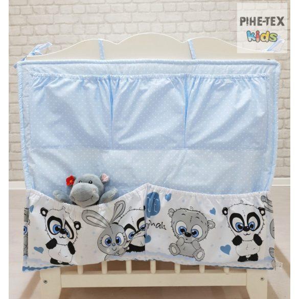 Cuki Állatok, kék 6 részes babaágynemű szett (576/K) (4 részes, zsebes tároló, babafészek)