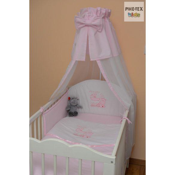 Rózsaszín, hímzett vizilovas 4 részes babaágynemű szett (99)