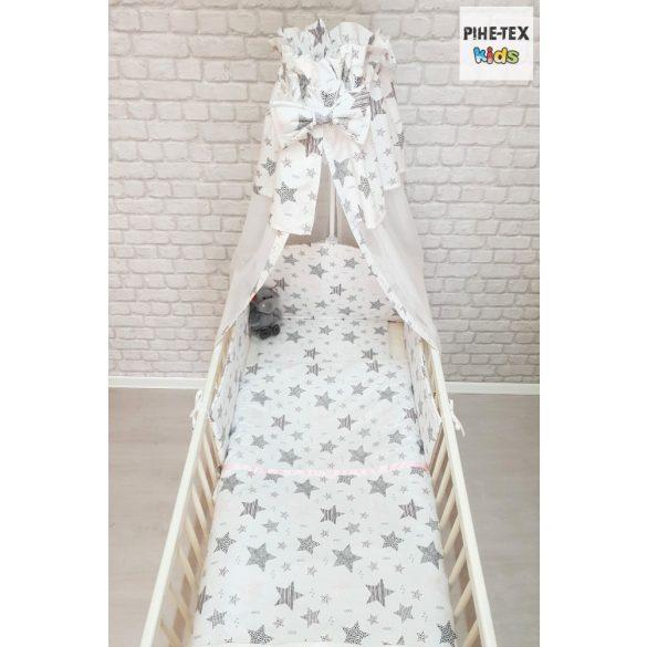 Csíkos Csillagok, rózsa 6 részes babaágynemű szett (121/R) (4 részes, zsebes tároló, babafészek)
