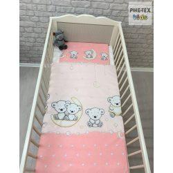 Holdon ülő macik, Rózsa-2 részes babaágynemű szett (562/R)