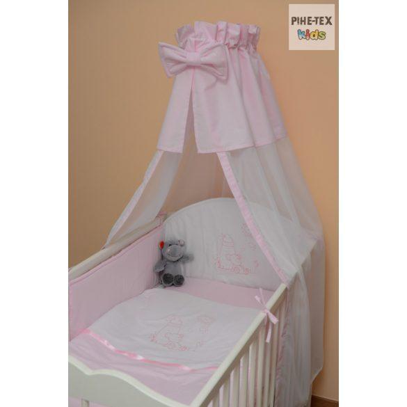 Rózsaszín, hímzett cumis maci 4 részes babaágynemű szett (99)