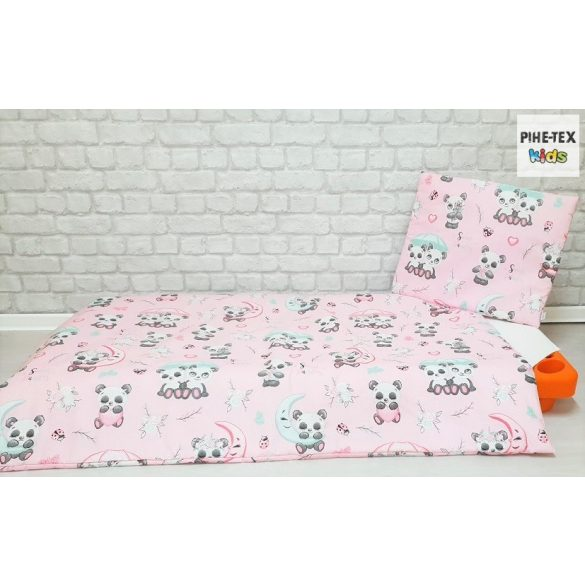 Sweet Panda, rózsa, 5 részes ovis kezdőcsomag (2 részes fehér, ovis huzat, ovis zsák, tornazsák, vízhatlan matracvédő lepedő) + ajándék ovis törölköző