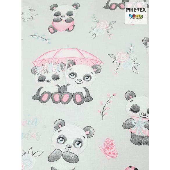 Sweet Panda, szürke, 5 részes ovis kezdőcsomag (2 részes fehér, ovis huzat, ovis zsák, tornazsák, óvodai derékalj)
