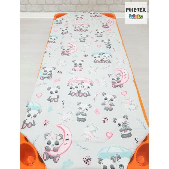 Sweet Panda, szürke, 5 részes ovis kezdőcsomag (2 részes fehér, ovis huzat, ovis zsák, tornazsák, óvodai derékalj) + ajándék ovis törölköző