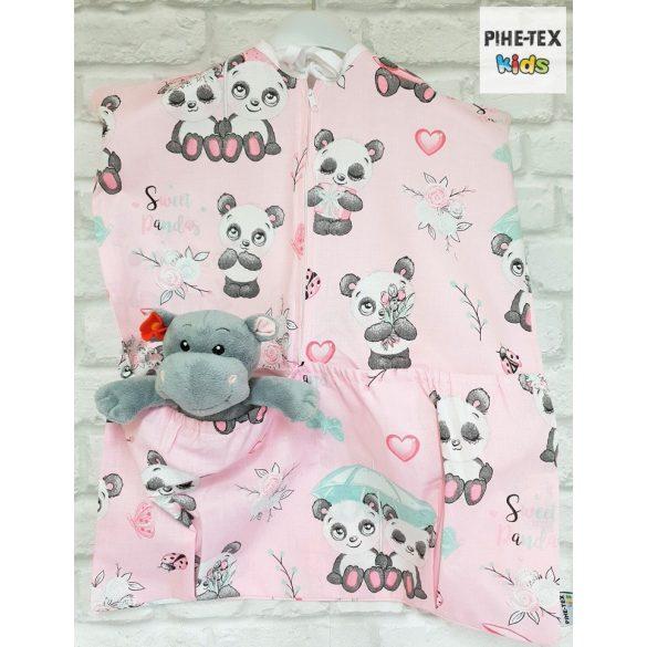 Sweet Panda, rózsa, 4 részes ovis kezdőcsomag (2 részes mintás, ovis zsák, tornazsák, óvodai derékalj) + ajándék ovis törölköző