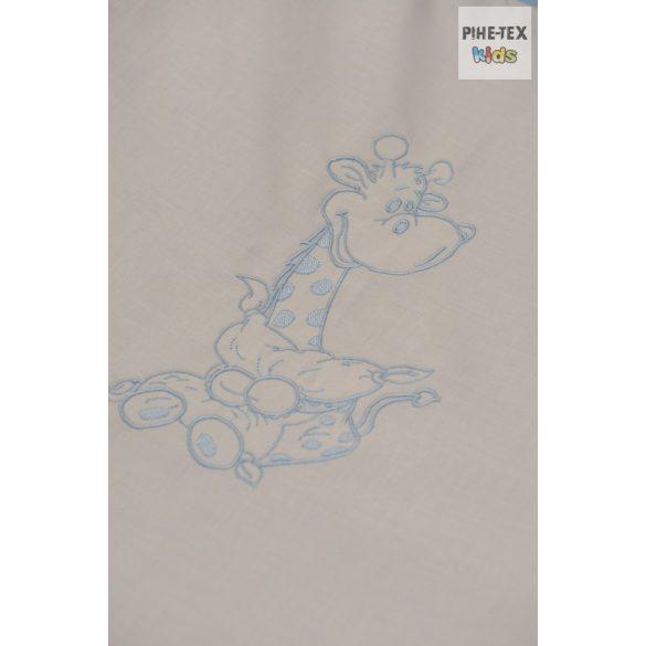 Kék pöttyös, hímzett ölelős zsiráf, 2 részes babaágynemű szett (114/K)