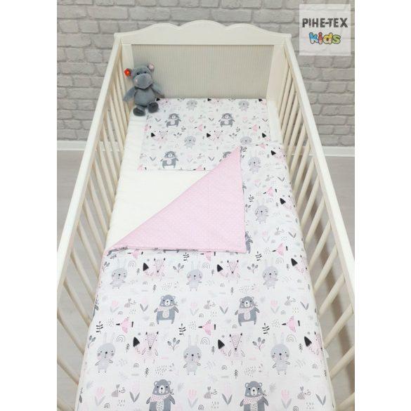 Erdő lakók, rózsaszín pöttyös 3 részes babaágynemű garnitúra (584/R/2)
