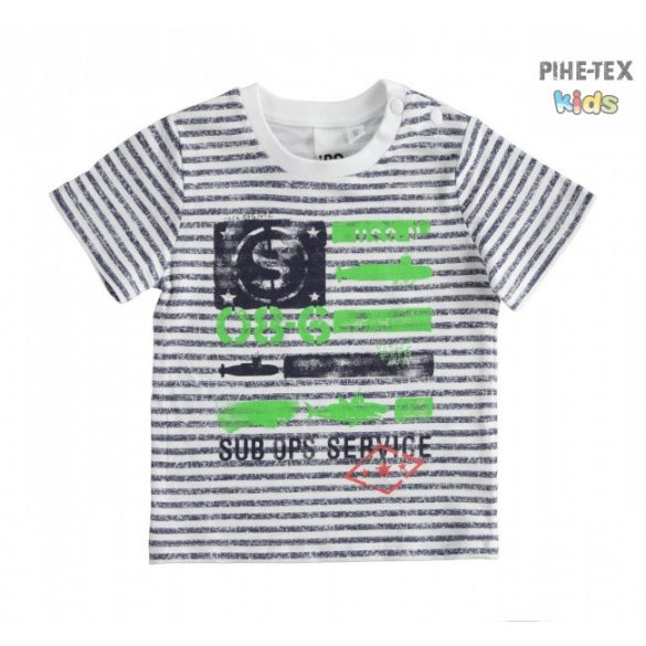 iDO fiú, fehér-kék csíkos, rövid ujjú póló, nyomott mintával (J684/00-6MY8)