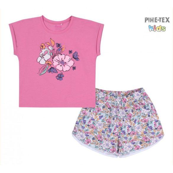 Bembi 2 részes lány szett, pink, nyomott virág mintával, virág mintás rövidnadrággal (KS630)