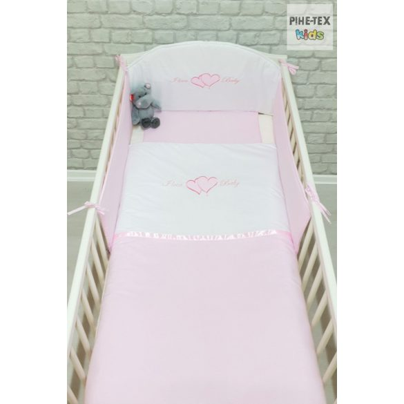 Rózsaszín, hímzett I love baby feliratos szivecskékkel 3 részes babaágynemű szett (99)