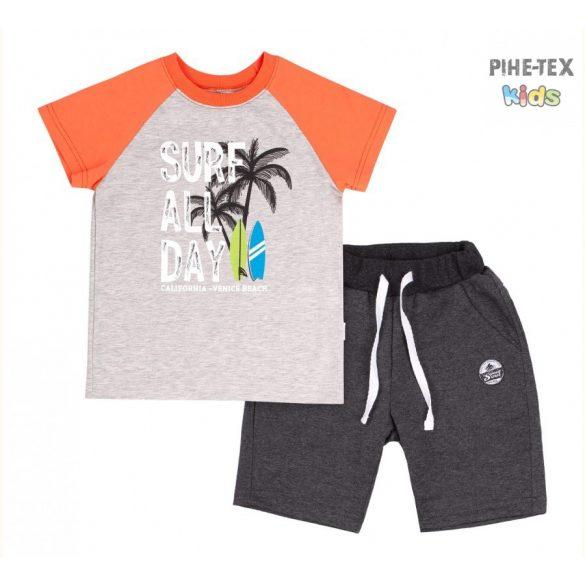 Bembi 2 részes fiú szett, fekete-szürke-narancs, pálmafa nyomott mintával, rövidnadrággal (KS616)