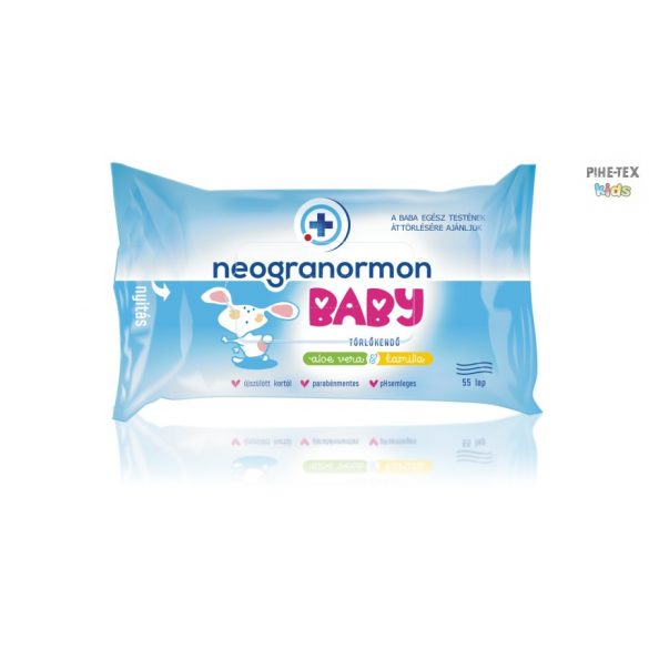 Neogranormon baby törlőkendő, aloe vera és kamilla kivonattal, 55 lapos