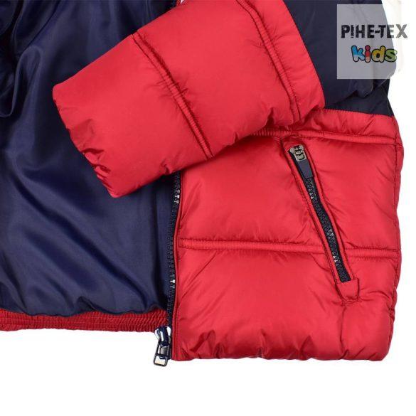 iDO fiú, piros-fehér-sötétkék, levehető kapucnis, steppelt kabát (K800/00-3885)