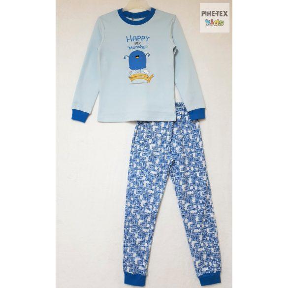 Bembi 2 részes fiú pizsama szett, kék, szörnyecske mintával (PG39)