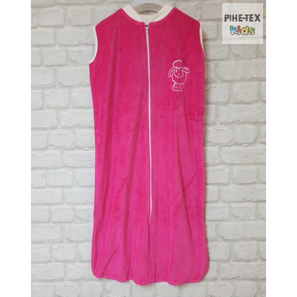 Ujjatlan, pink, plüss hálózsák, hímzett bari mintával 104-es méret