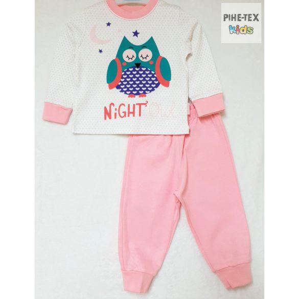 Bembi 2 részes lány pizsama szett, rózsaszín, bagoly mintával (PG40)