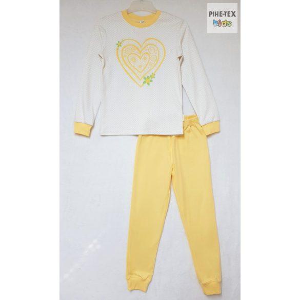 Bembi 2 részes lány pizsama szett, sárga-fehér, szívecske mintával (PG39)