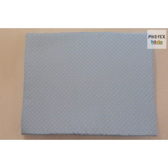 Kék fehér pöttyös, hímzett elefántos mintás 4 részes babaágynemű szett