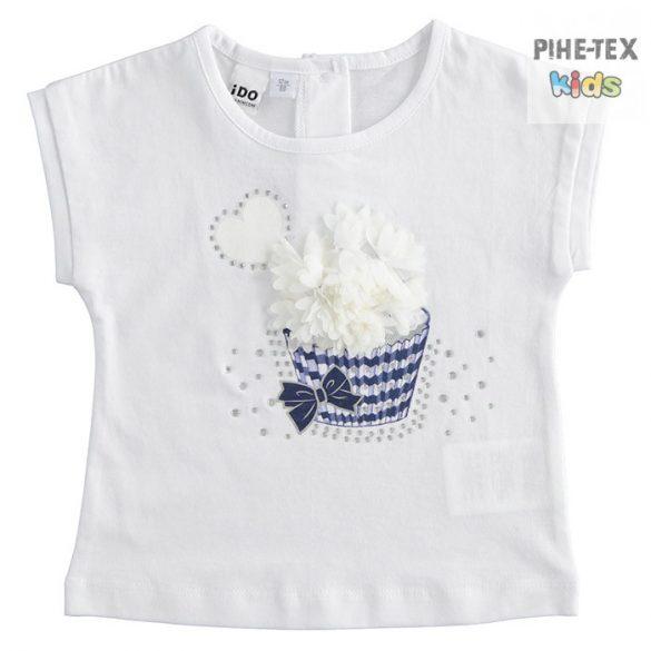 iDO lány, fehér rövid ujjú póló, nyomott és strasszköves mintával (J757/00-0113)