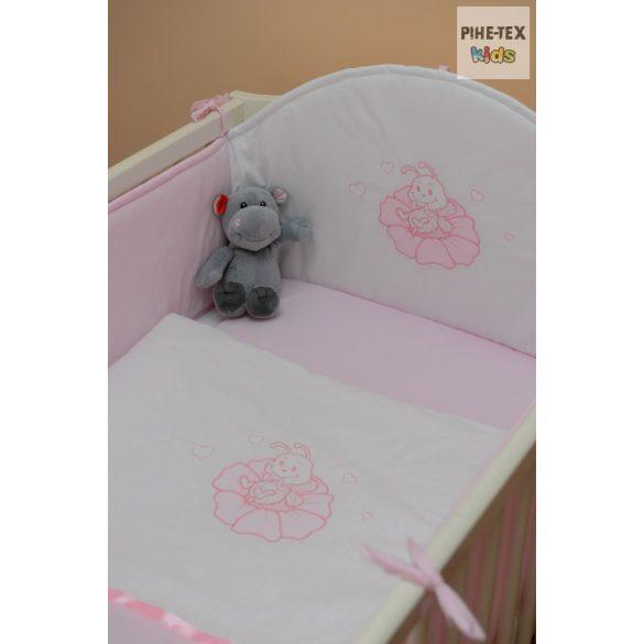 Rózsaszín,hímzett- méhecskés 3 részes babaágynemű szett (99)