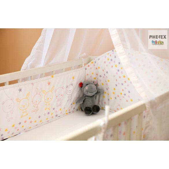 Pihe- Rózsaszín csillagos maci  4 részes babaágynemű szett (P-495/R)