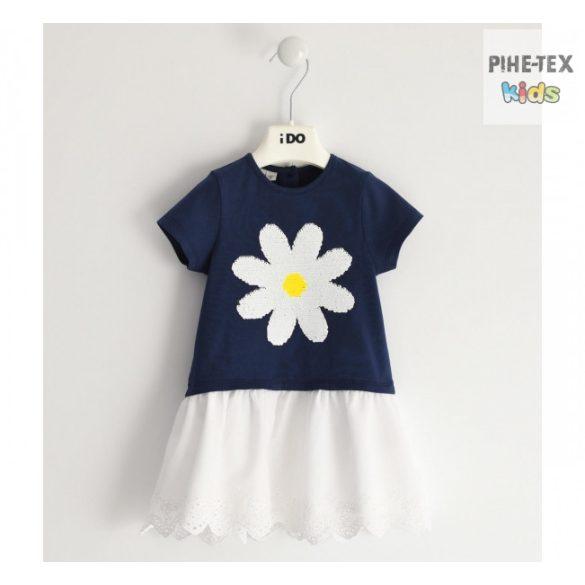 iDO lány, sötétkék-fehér ruha, megfordítható flitteres mintával (J300/00-3854)