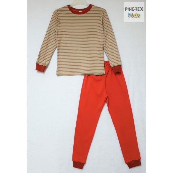 Bembi 2 részes fiú pizsama szett, bézs-piros csíkos (PG39)
