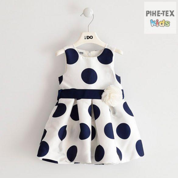 iDO lány, fehér-sötétkék pöttyös, alkalmi ruha (J291/00-6ME6)