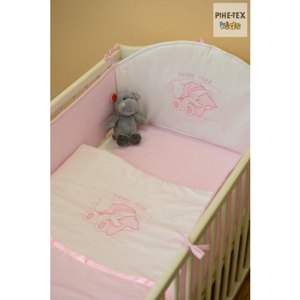 Rózsaszín, alvós maci 3 részes babaágynemű szett (99)