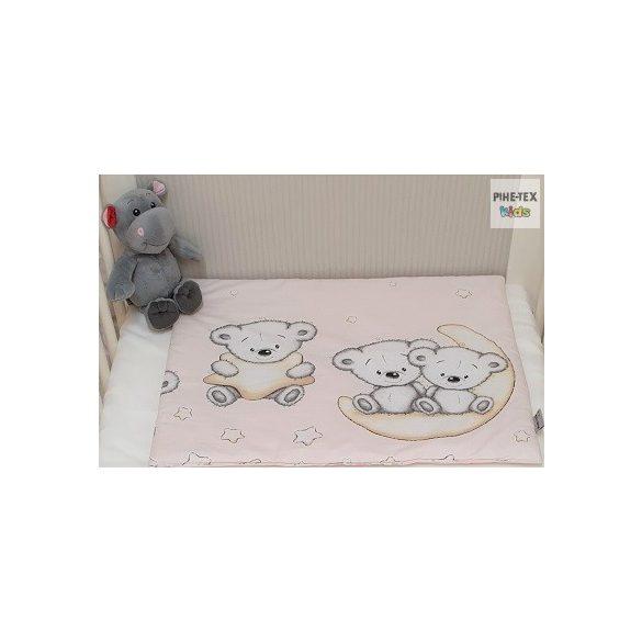 Holdon Ülő Macik, Rózsa- 3 részes babaágynemű szett (562/R)