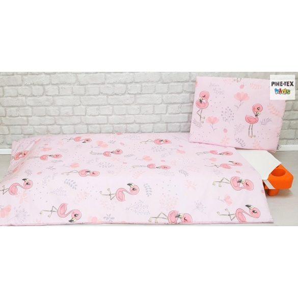 Flamingó, rózsa, 4 részes ovis kezdőcsomag (2 részes mintás, ovis zsák, tornazsák, vízhatlan matracvédő lepedő)