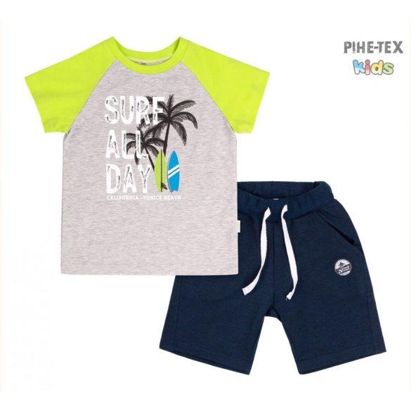 Bembi 2 részes fiú szett, sötétkék-szürke-zöld, pálmafa nyomott mintával, rövidnadrággal (KS616)
