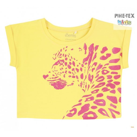 Bembi 2 részes lány szett, sárga-pink, nyomott mintával, rövidnadrággal (KS630)