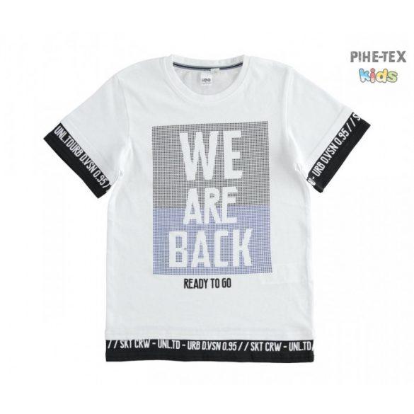 iDO fekete-fehér, nyomott mintás póló (K722/00-0113)