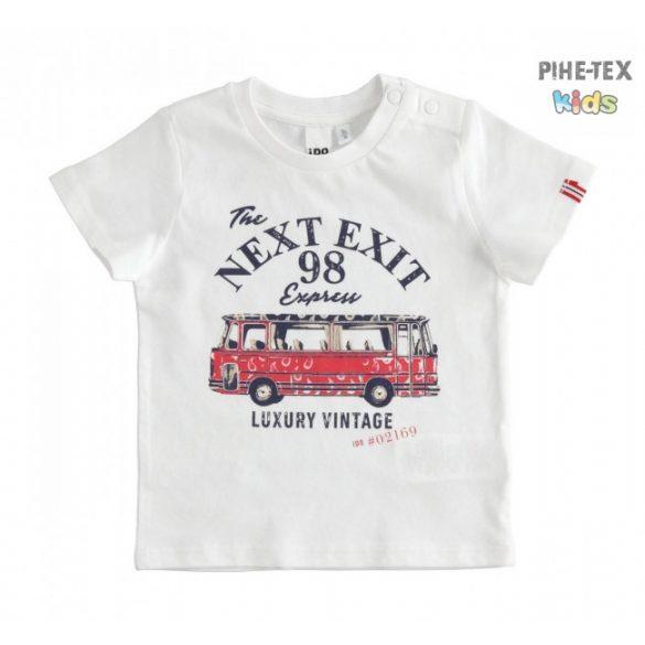 iDO fiú, fehér-piros, rövid ujjú póló, nyomott, Next exit felirattal (J678/00-0113)