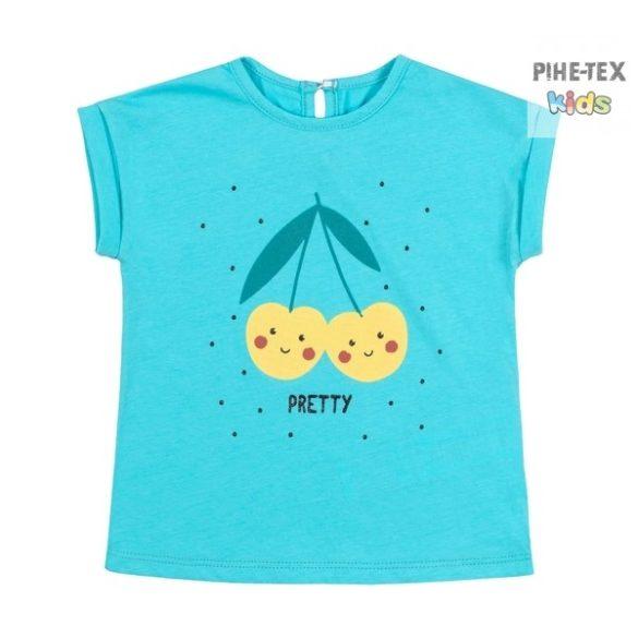 Bembi türkiz, nyári kislány póló, nyomott mintával (FB700)