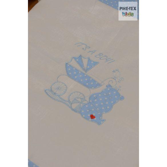 Kék pöttyös, hímzett vizilovas 2 részes babaágynemű szett (114/K)