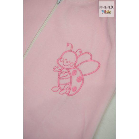 Rózsaszín, ujjatlan, patentos hálózsák, hímzett katica mintával 86-os méret