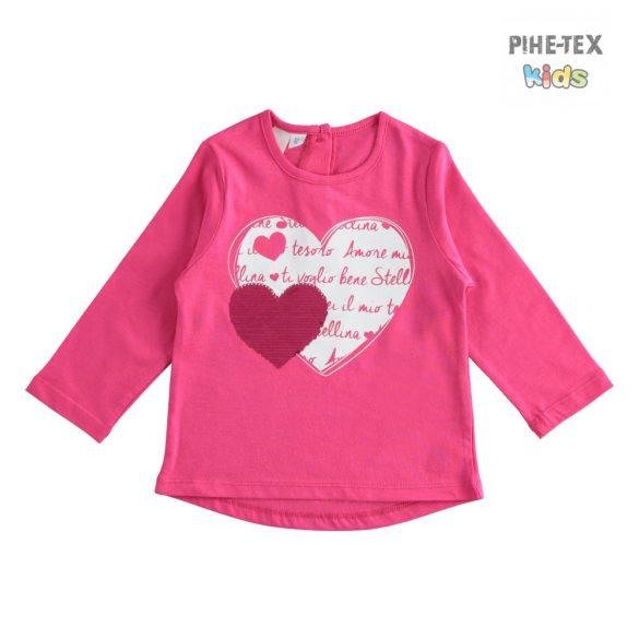 iDO lány, pink, hosszú ujjú felső, megfordítható flitteres, nyomott mintával (J318/00-2445)
