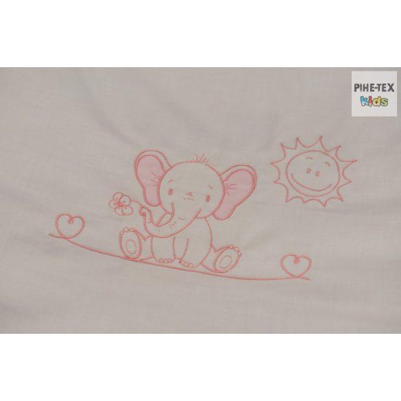 Rózsaszín, hímzett elefántos 3 részes babaágynemű szett (99)