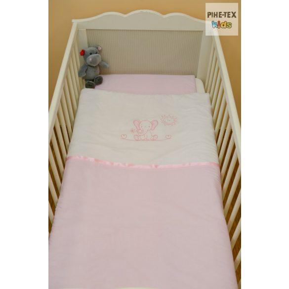 """Rózsaszín, """"hímzett cumis macis"""" 2 részes babaágynemű szett (99)"""