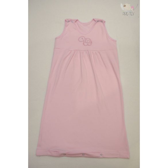 Rózsaszín, ujjatlan, patentos hálózsák, hímzett teknős mintával 92-es méret