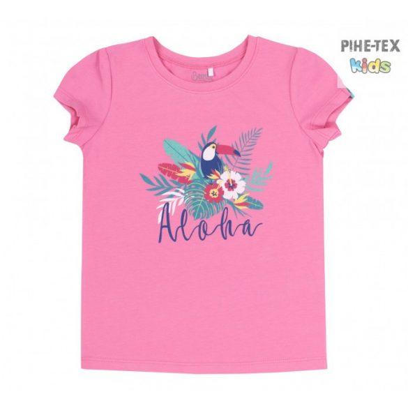 Bembi sötétrózsaszín, nyári kislány póló, aloha felirattal (FB718)