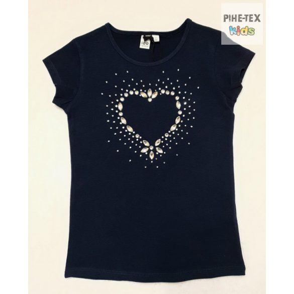 iDO lány, sötétkék, rövid ujjú póló, stasszköves mintával (J861/00-3854)