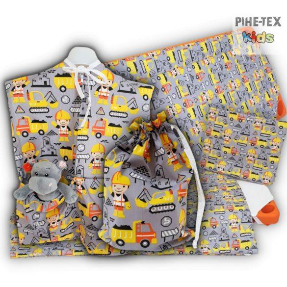 Építő Mester, szürke, 4 részes ovis kezdőcsomag (2 részes mintás, ovis zsák, tornazsák, óvodai derékalj) + ajándék ovis törölköző