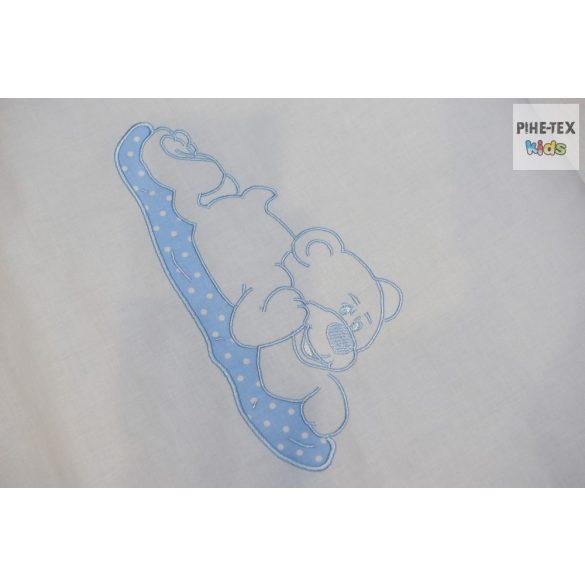 Kék pöttyös, hímzett szívecskés 2 részes babaágynemű szett  (114/K)